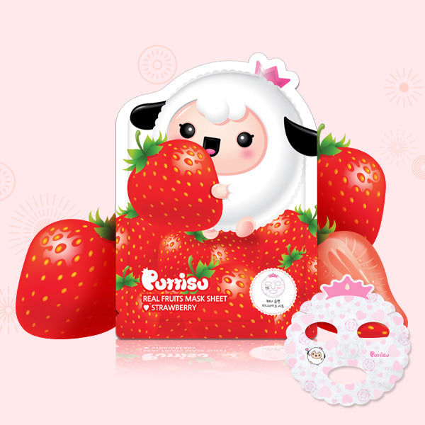 Puttisu Real Fruit Facial Mask Sheet #Strawberry (pack of 5)
