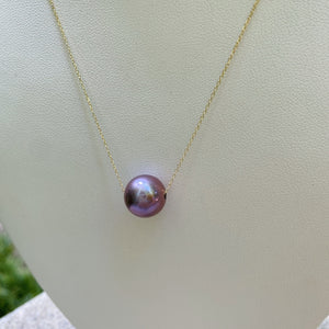 AAAA Magenta Edison Pearl Floating Necklace 14kt Gold