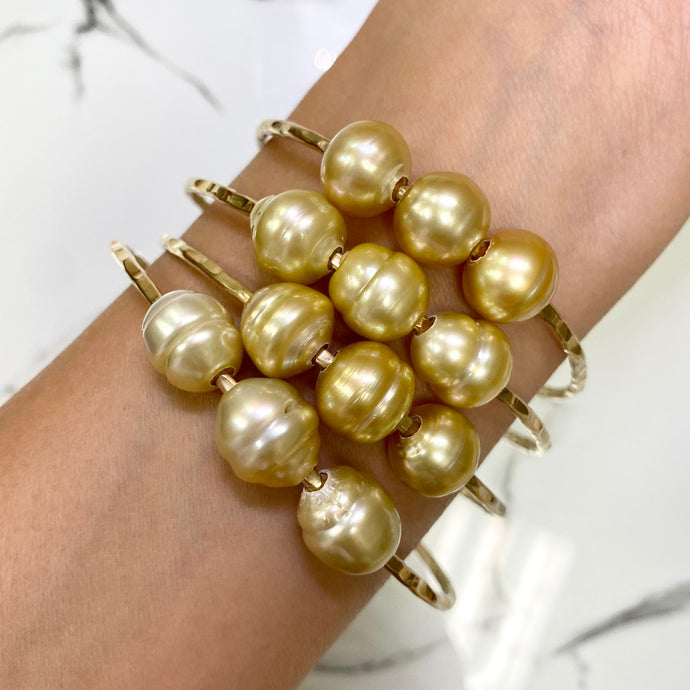 Triple Golden South Sea Semi Baroque Pearl Bangle
