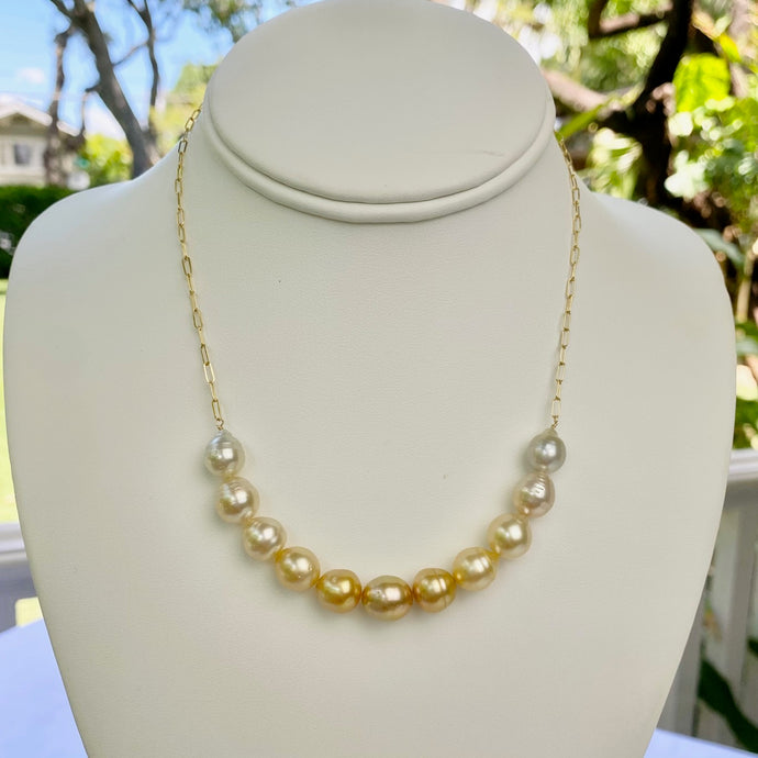 Cassie Bar Ombre Golden South Sea Pearl Necklace