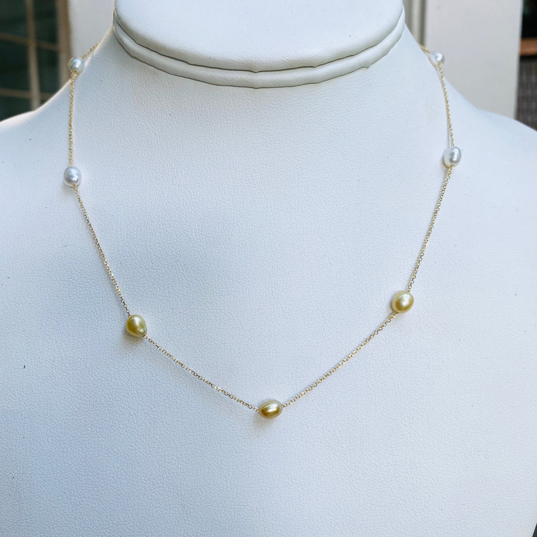 Keshi Golden South Sea Pearl Choker 14kt Solid Gold
