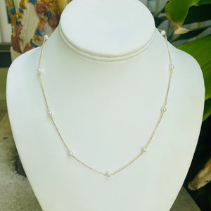 Kendall White Pearl Necklace 14kt Solid gold