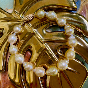 Semi-baroque Golden South Sea Pearl Bracelet