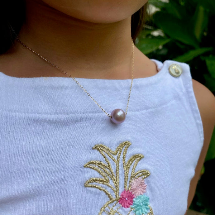 Baby Pink Edison Pearl Bar Necklace