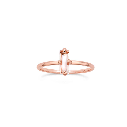 Baguette Rose Quartz Ring