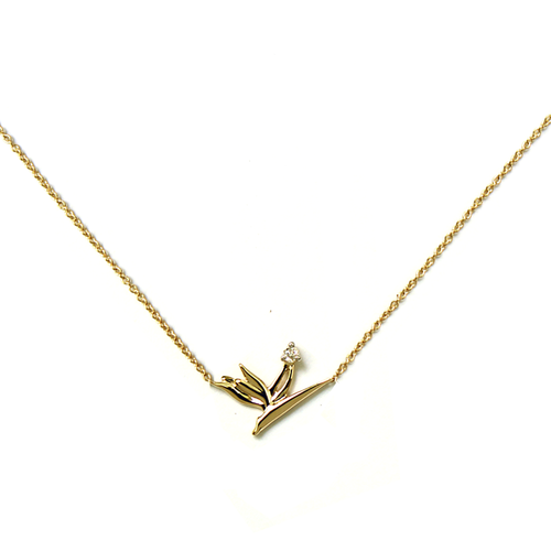 Diamond Bird of Paradise Necklace 14kt Gold