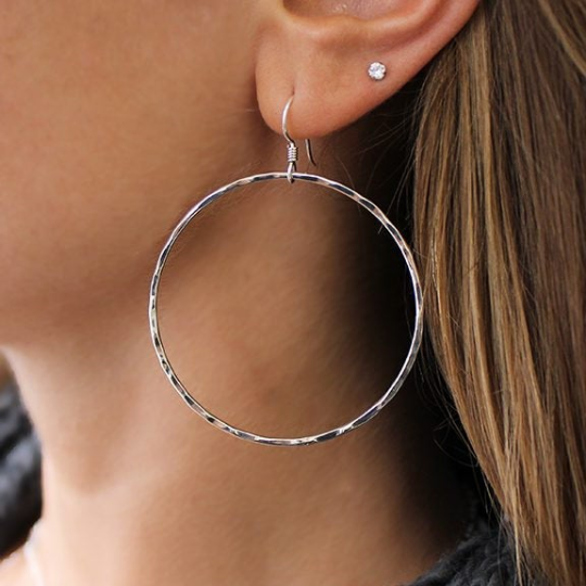 Simple Hammered Hoop Earrings