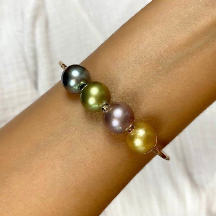 Rainbow Quad Pearl Bangle