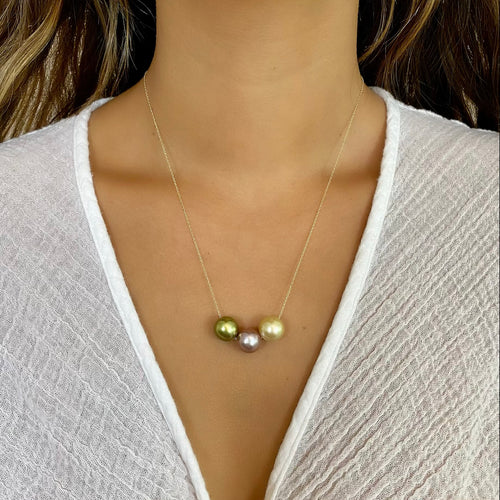 Tropical Goddess Pearl Floating Necklace 14kt Gold