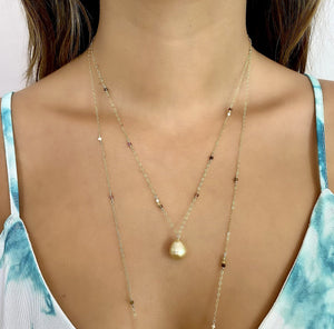 Short Allie Golden South Sea Pearl Necklace