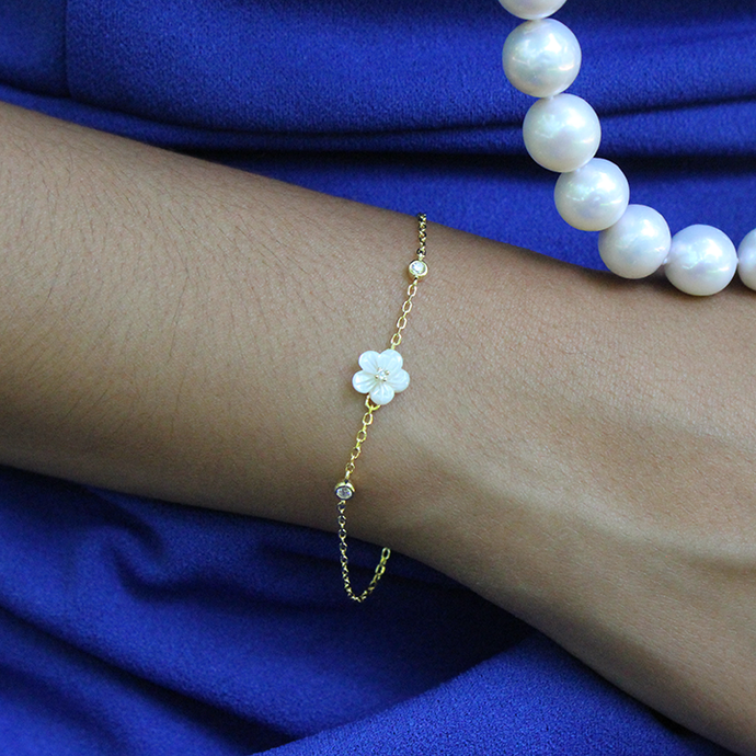 Plumeria Mother of Pearl Bracelet