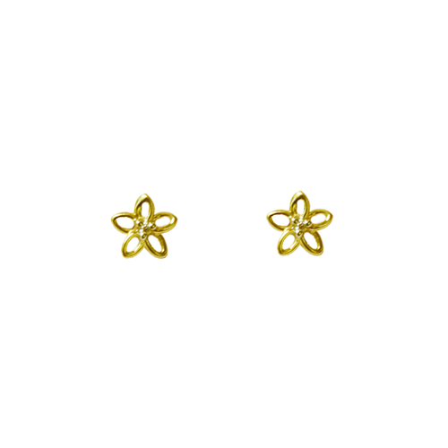 Diamond Plumeria Stud Earring