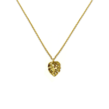 Load image into Gallery viewer, Tiny Monstera Necklace 14kt Solid Gold