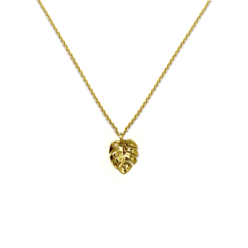 Tiny Monstera Necklace 14kt Solid Gold