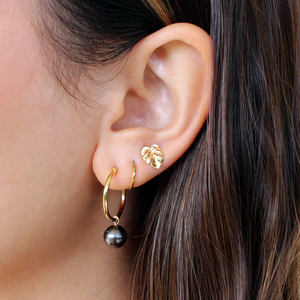 Tiny Monstera Stud Earring Solid 14kt Gold