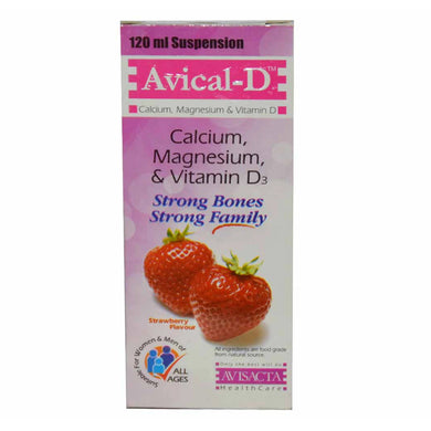 Avical-D Syrup 120ml Avisacta Health Care Calcium Supplement Calcium 400mg, Magnesium 100mg, Vitamin D3 400IU