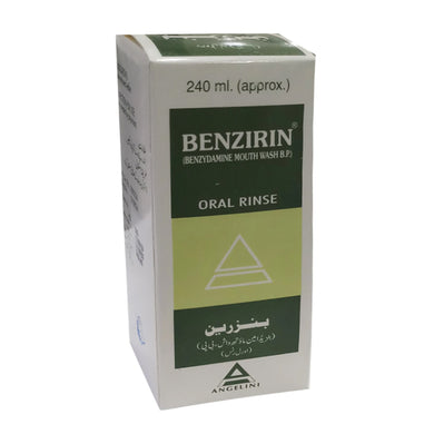 Benzirin Oral Rinse 240ml Solution Angelini Pharmaceuticals (Pvt) Ltd Oral Hygiene Benzydamine HCl