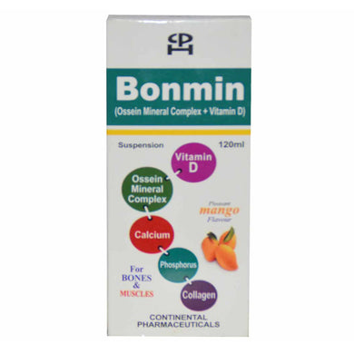 Bonmin 120ml syp Suspention Continental Pharmaceuticals-CalciumSupplements Ossein Mineral Complex_VitaminD