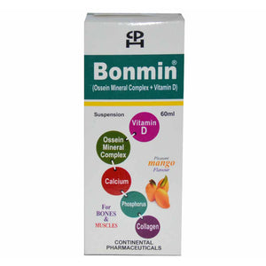 Bonmin Susp 60ml Suspention Syrup Continental Pharmaceuticals-Calcium Supplements Ossein Mineral Complex VitaminD