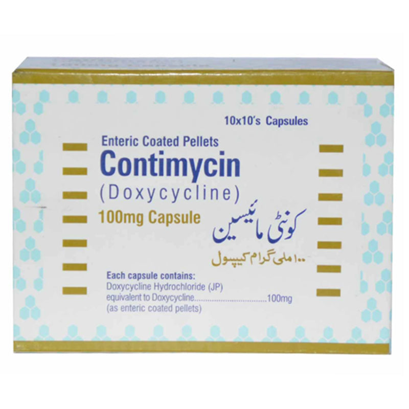 Contimycin 100mg cap capsules continental chemicalco. pvt ltd tetracycline anti bacterial doxycycline ashyclate