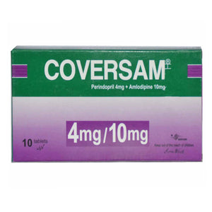 Coversam 4mg 10mg Tab Tablet Servier Research And Pharmaceuticals Pakistan Anti Hypertensive Perindopril 4mg Amlodipine 10mg