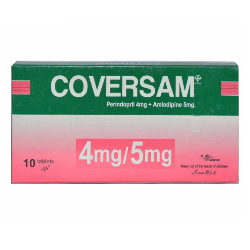 Coversam 4mg 5mg Tab Tablet Servier Research And Pharmaceuticals Pakistan Anti Hypertensive Perindopril 4mg Amlodipine 5mg