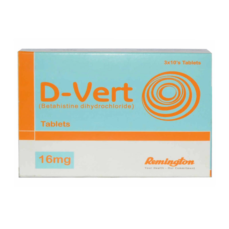 D-Vert Tablet 16mg Remington Pharmaceuticals Anti-Vertigo Betahistine Dihydrochloride