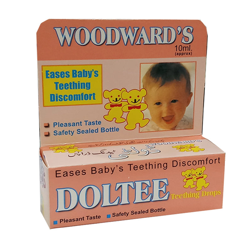 Doltee Teething Drops 10ml Woodward Pakistan Local Anesthetic Lignocaine, Methyl salicylate, Phenyl carbinol, Menthol