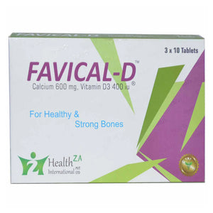 Favical D Tab Tablet Healthza Pharma Calcium 600mg Vitamin D 3400IU