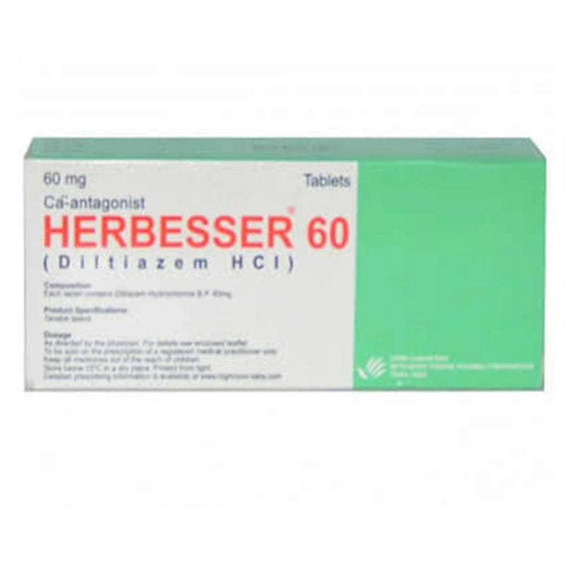 Herbesser 60mg Tab Tablet Highnoon Laboratories Ltd Anti Hypertensive Diltiazem Hcl