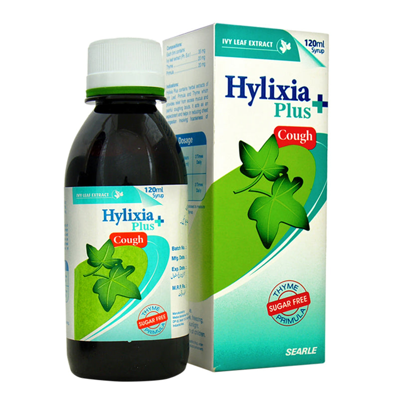 Hylixia Plus Cough syrup 120ml IVY Leaf Extract.35mg, Primula…20mg, Thyme…20mg Searle pakistan