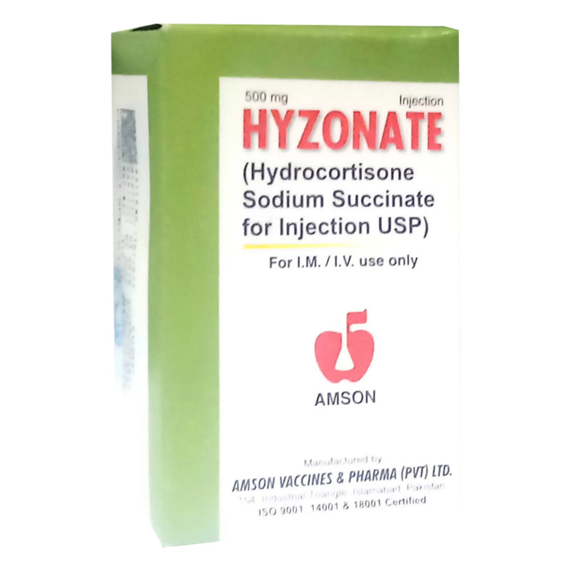 Hyzonate 500mg Injection Inj Amson Pharma Pvt Ltd Corticosteroids Hydrocortisone Sodium Succinate