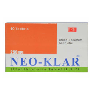 NEO-KLAR 250mg Tablet CCL Pharmaceuticals Anti-Bacterial Clarithromycin U.S.P