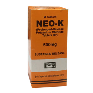 Neo-K Tablet 500mg Zafa Pharma Nutritional Supplement Prolonged-Release Potassium Chloride