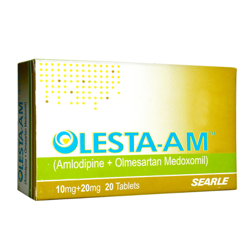 Olesta-AM 10/20mg Tablet Anti-Hypertensive Amlodipine+Olmesartan Medoxomil Searle Pakistan