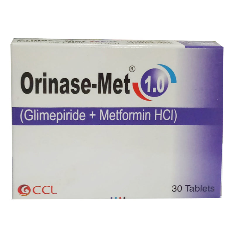 Orinase Met 1.0mg Tablet CCL Pharmaceuticals Oral Hypoglycemic Glimepiride 1mg Metformin 500mg