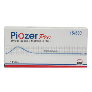 Piozer Plus 15/500 mg Tablet Pioglitazone/Metformin HCl Hilton Pharma Oral Antidiabetic