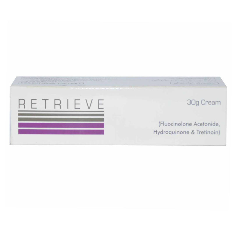Retrieve 30g cream pharma health pakistan pvt Ltd skincarepreparation fluocinoloneacetonide 0.01 hydroquinone 4 tretinoin 0.05