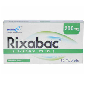 Rixabac 200mg Tablet Pharmevo Antibiotic Rifaximin Hepatic encephalopathy Irritable bowel syndrome with diarrhea Traveler_sdiarrhea
