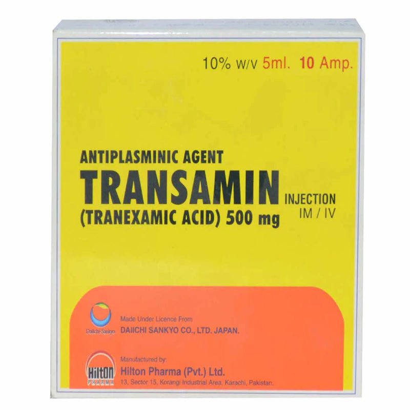 Transamin 500mg 5ml Injection Hilton Pharma Pvt_ Ltd Anti Fibrinolytic Tranexamic Acid