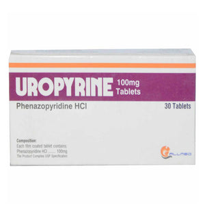 Uropyrine 100mg Tablet phenazopyridine hcl Urinary pain Allmed Labs
