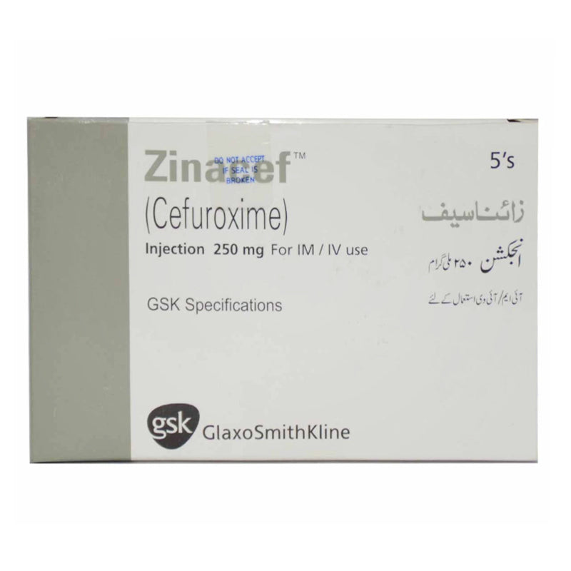 Zinacef 250mg Injection IM/IV Cefuroxime Anti-biotic Glaxosmithkline