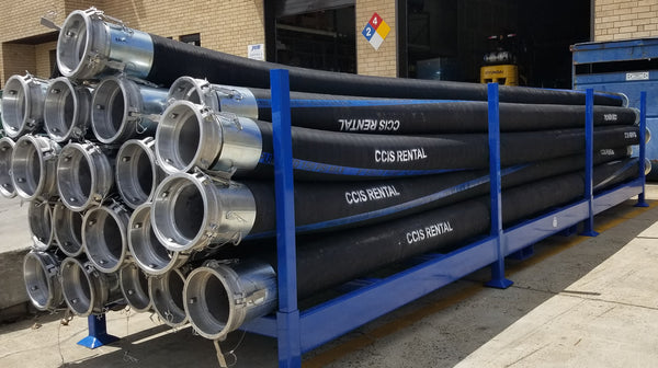 Brewery hoses kept in a horizontal rack