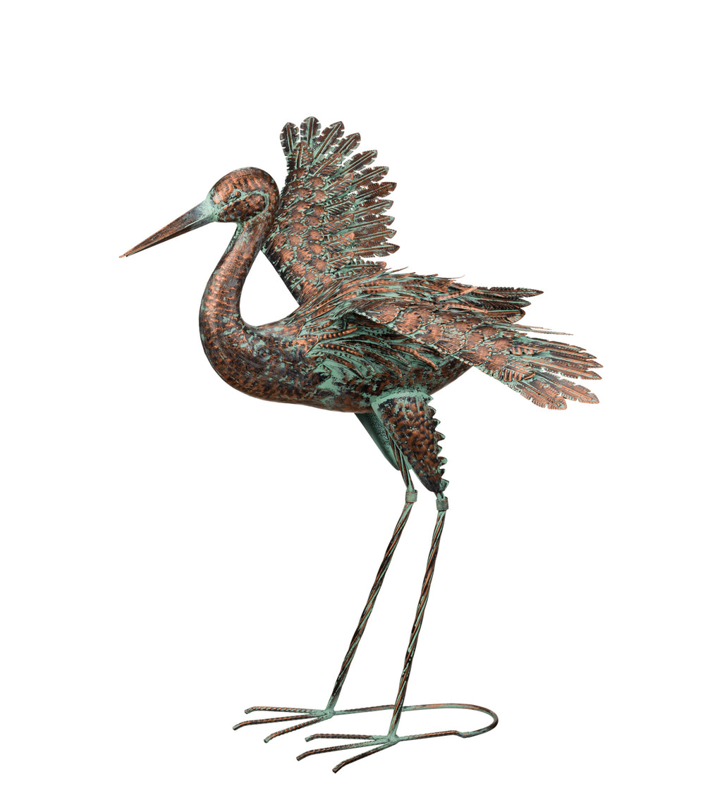 Bird Statuary Green Patina Crane