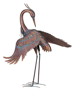 Bird Statuary Copper Patina Heron Preening