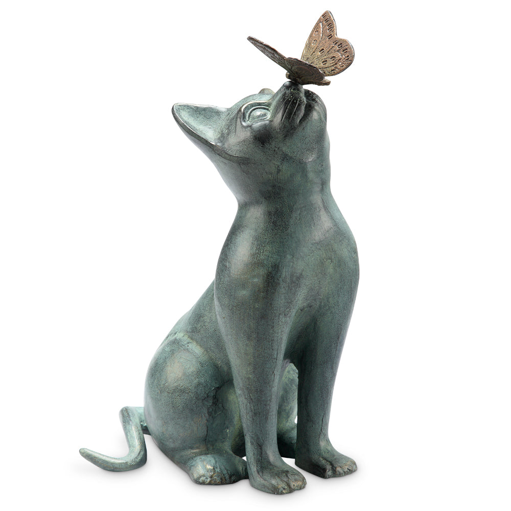 Curiosity Garden Sculpture Cat with Butterfly