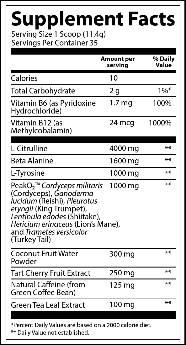 Wild Blueberry Low Stim Nutrition Label