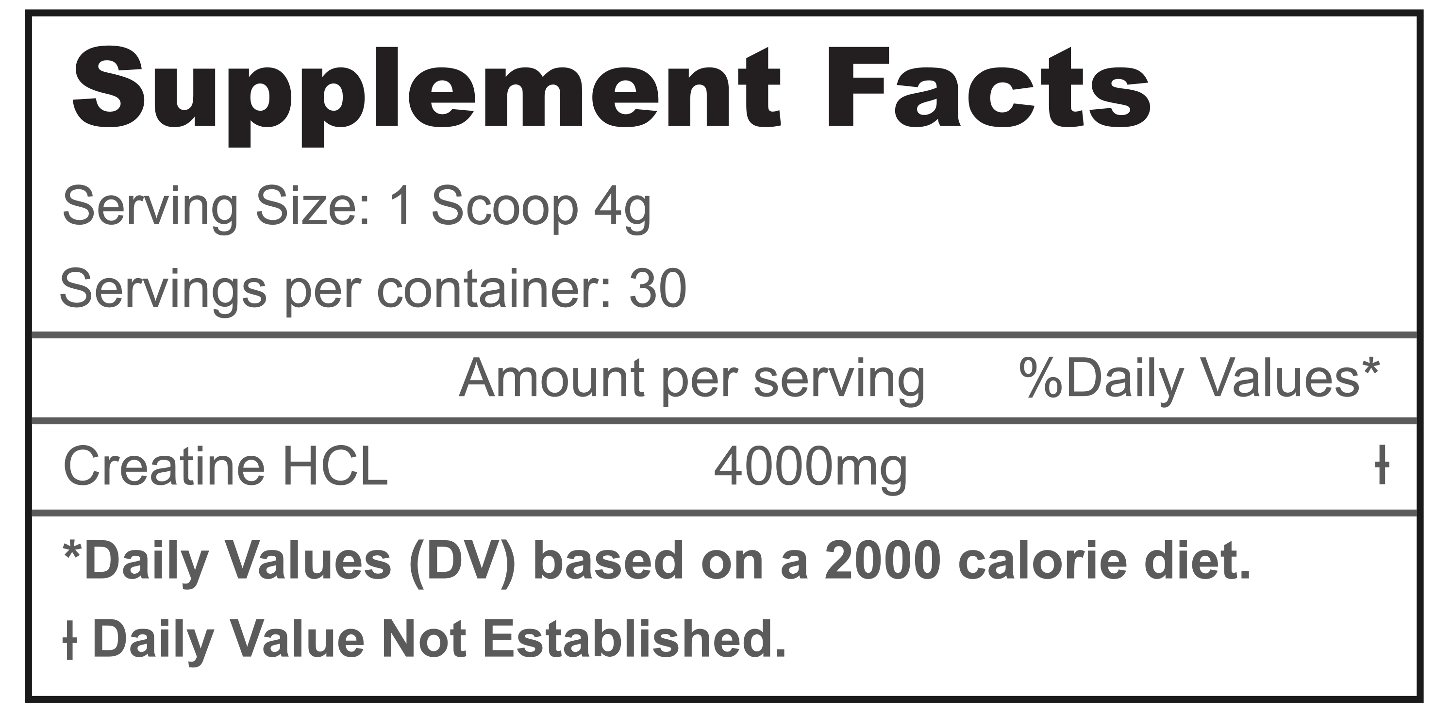Creatine Nutrition Label