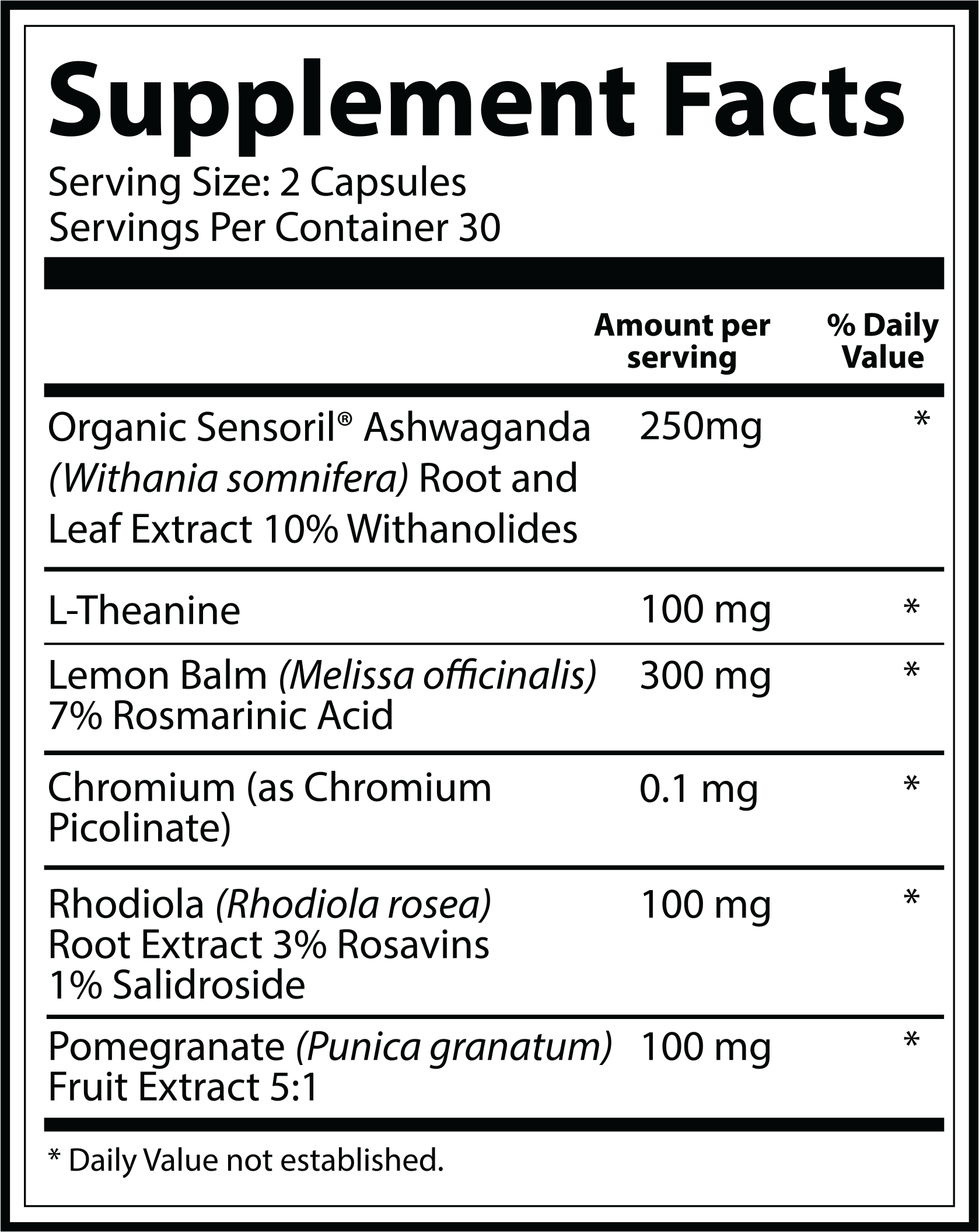 Mood Nutrition Label