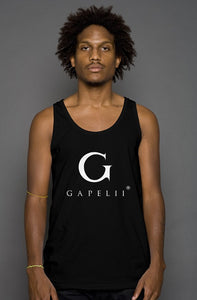 Gapelii Cotton Tank Top Black (Logo White)